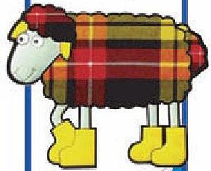 Scottish Magnet - Tartan Sheep with Boots (Fridge Magnet)