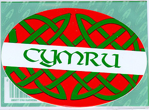 Cymru Welsh Celtic Red & Green Knot Oval Car Decal Sticker