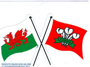 WELSH Crossed Flags - Dragon & Prince of Wales Feathers