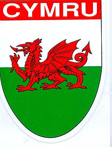 "CYMRU Wales WELSH Dragon Decal Car Sticker 4"" x 3"" - UK - British