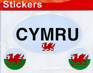 Cymru Dragon w/ 2 Miniature Dragon Welsh Decal Car Stickers