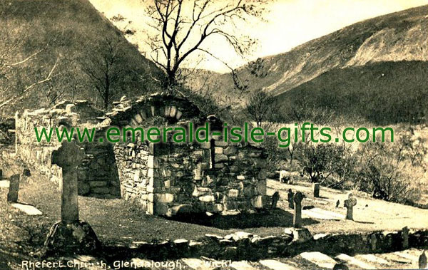 Wicklow - Rhefort Church, Glendalough, old photo