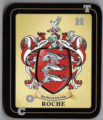 Roche Family Irish Heraldic Coasters (Roche Crest (2 coasters per set))