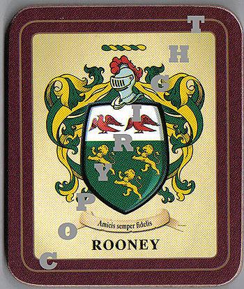 Rooney Family Irish Heraldic Coasters (Rooney Crest (2 coasters per set))