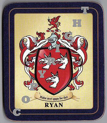 Ryan Family Irish Heraldic Coasters (Ryan Crest (2 coasters per set))