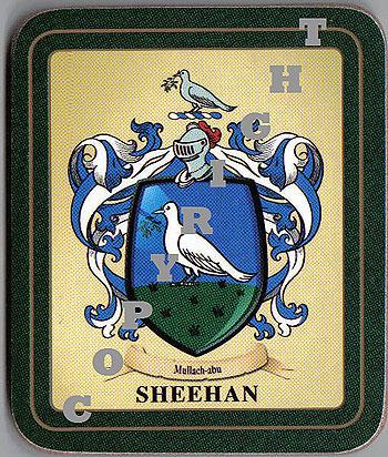 Sheehan Family Irish Heraldic Coasters (Sheehan Crest (2 coasters per set))