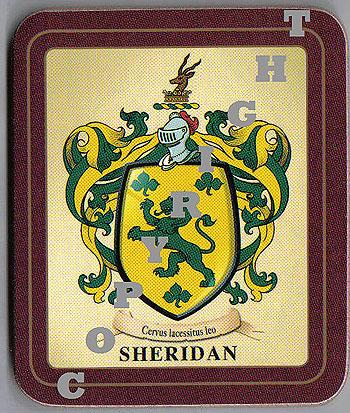Sheridan Family Irish Heraldic Coasters (Sheridan Crest (2 coasters per set))
