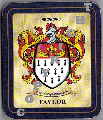 Taylor Family Irish Heraldic Coasters (Taylor Crest (2 coasters per set))