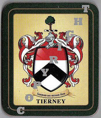 Tierney Family Irish Heraldic Coasters (Tierney Crest (2 coasters per set))