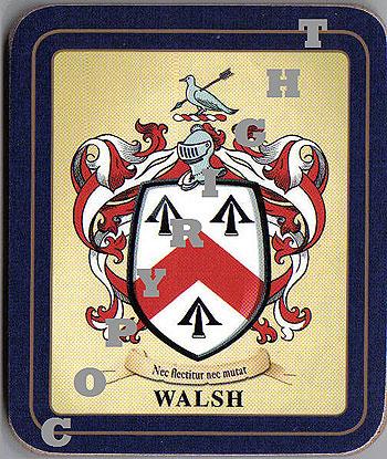 Walsh Family Irish Heraldic Coasters (Walsh Crest (2 coasters per set))