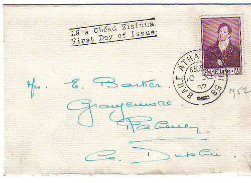 Ireland 1952 Fdc Thomas Moore First Day Cover