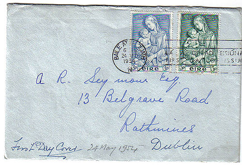Ireland 1954 Fdc Marion Year First Day Cover