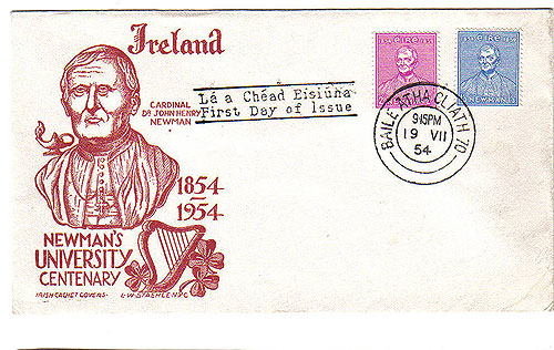 Ireland 1954 Fdc Newman Catholic Univ. Staehle Cover