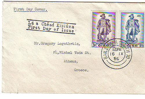 Ireland 1956 Fdc Commodore John Barry Father Us Navy
