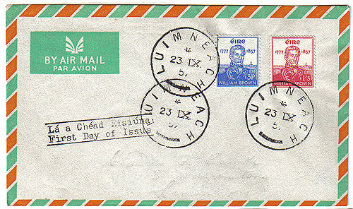 Ireland 1957 Fdc Admiral William Brown Airmail