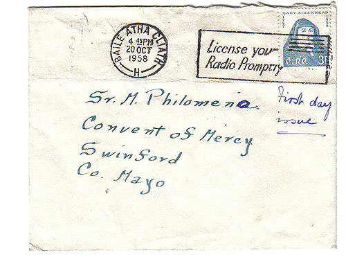 Ireland 1958 Fdc Mother Mary Aikenhead Airmail Cover