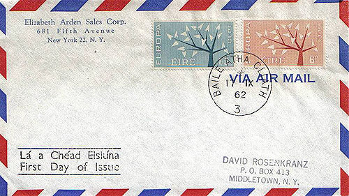 Ireland 1962 Fdc Europa Airmail