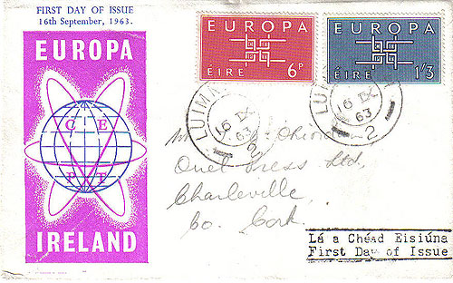 Ireland 1963 Fdc Europa First Day Cover (addressed)