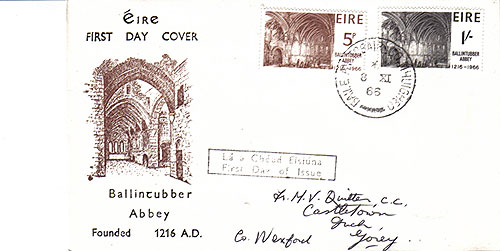Ireland 1966 FDC Ballintubber Abbey Philart