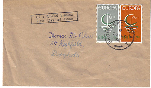Ireland 1966 FDC Europa brown