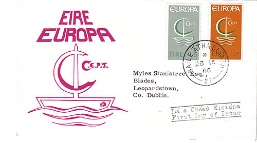 Ireland 1966 FDC Europa  red
