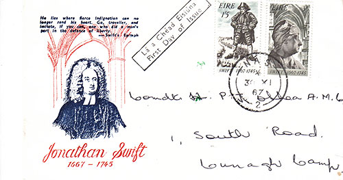 Ireland 1967 FDC Jonathan Dean Swift