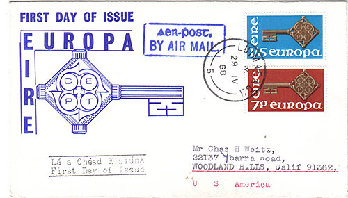 Ireland 1968 FDC Europa Air Mail