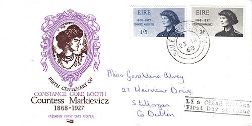 Ireland 1968 FDC Countess Markievicz address