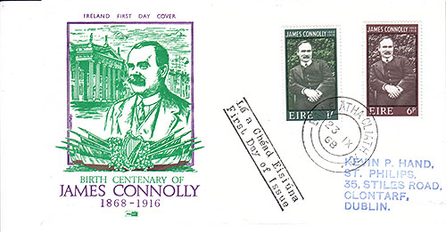 Ireland 1968 FDC James Connolly Green Portrait
