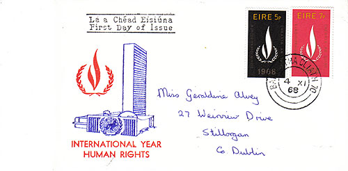Ireland 1968 FDC Intl. Human Rights UN