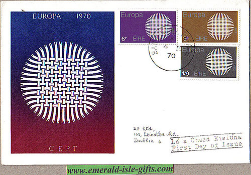 Ireland 1970 Fdc Europa Harp Cover Club Le Brocquy