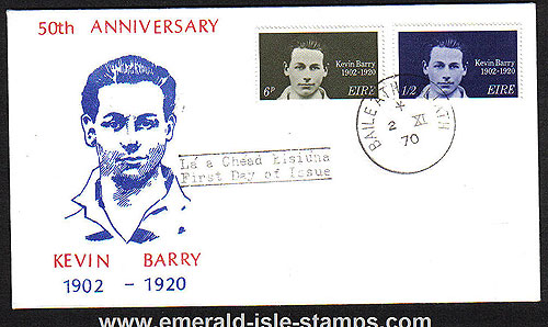 Ireland 1970 Fdc Kevin Barry First Day Cover (portrait)