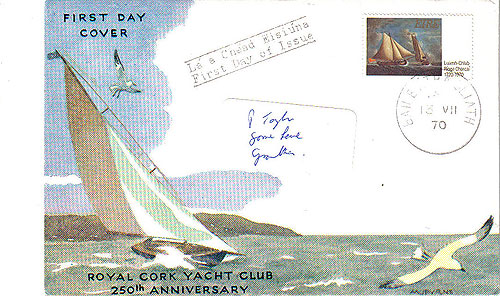Ireland 1970 Fdc Royal Cork Yacht Club (harp Cover)23