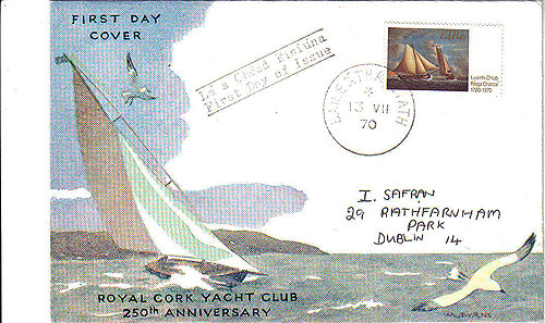 Ireland 1970 Fdc Royal Cork Yacht Club (harp Cover)25