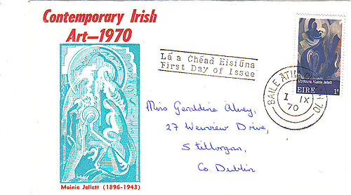 Ireland 1970 Fdc Art: Mainie Jellett First Day (blue)31