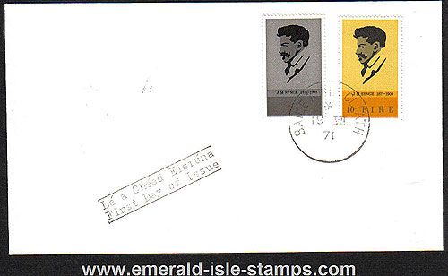 Ireland 1971 Fdc J.m.synge Playwright Set Cover (plain)
