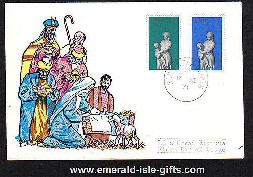 Ireland 1971 Fdc First Christmas Issue (harp)