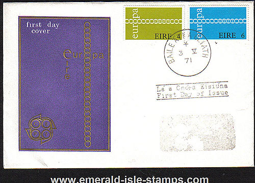 Ireland 1971 Fdc Europa Eire First Day Cover (harp)