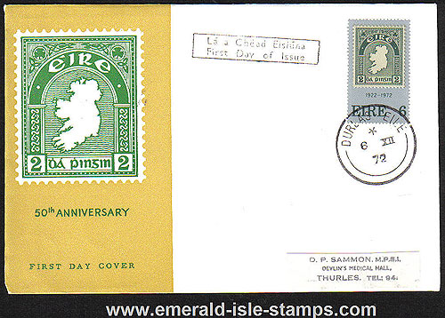 Ireland 1972 Fdc First Postage Stamp Anniv (harp)