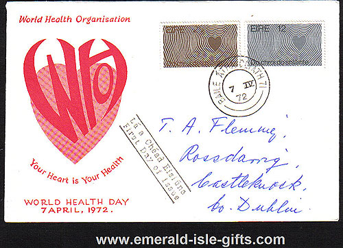 Ireland 1972 Fdc Health: Louis Le Brocquy (harp)