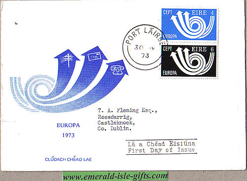 Ireland 1973 Fdc Europa First Day Cover (harp)