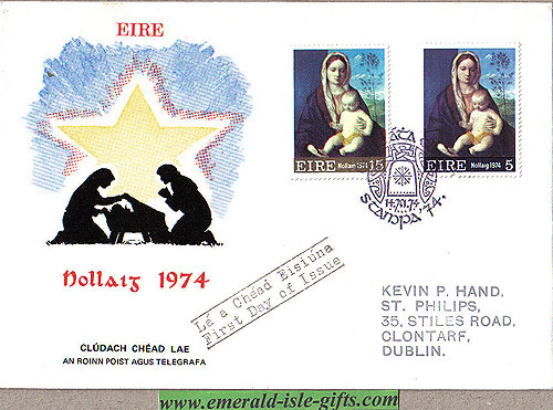 Ireland 1974 Fdc Christmas (an Post Stampa