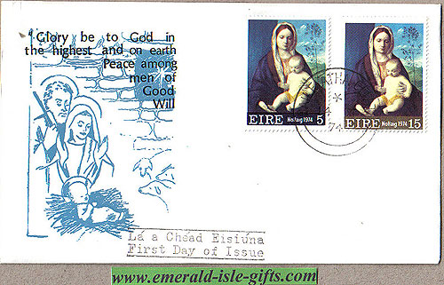 Ireland 1974 Fdc Christmas (nativity Scene)