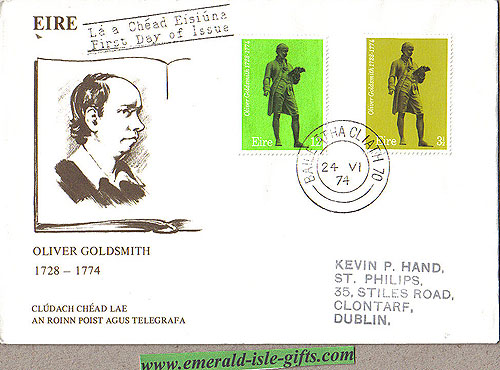 Ireland 1974 Fdc Oliver Goldsmith (an Post)
