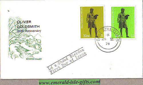 Ireland 1974 Fdc Oliver Goldsmith (deserted Village)