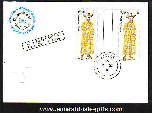 Ireland 1980 Fdc Europa G B Shaw Gutter Pair (an Post)