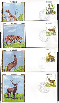 Ireland 1980 Fdc Wild Animals Set Of 4 Covers Colorano