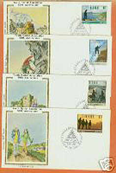 Ireland 1981 Fdc Hostelling 4 Silk Cachets (colorano)