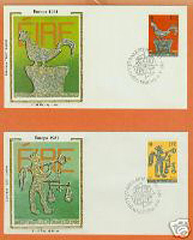 Ireland 1981 Fdc Europa: 2 Silk Cachets (colorano)