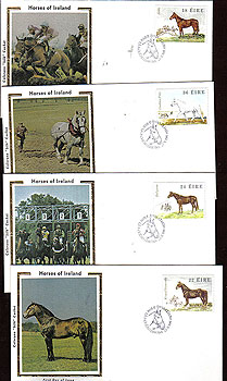 Ireland 1981 Fdc Horses 4 Silk Cachet Covers (colorano)